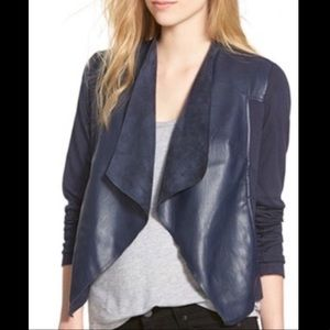 Kut from the Kloth faux leather drape front blazer